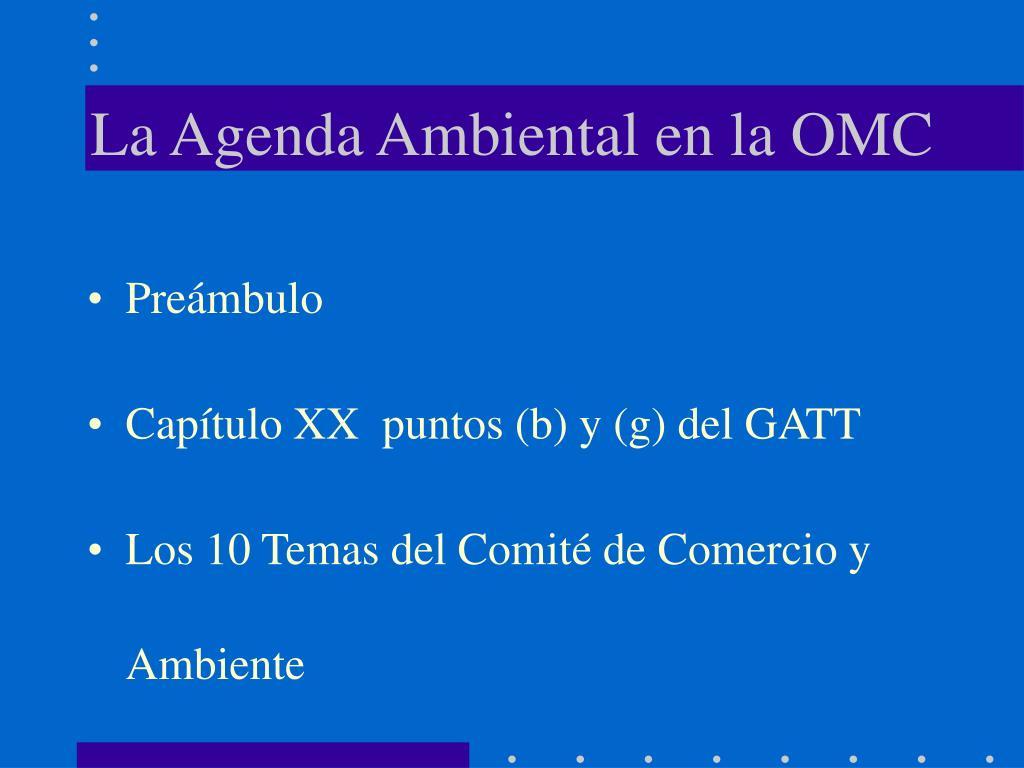 La Agenda Ambiental en la OMC