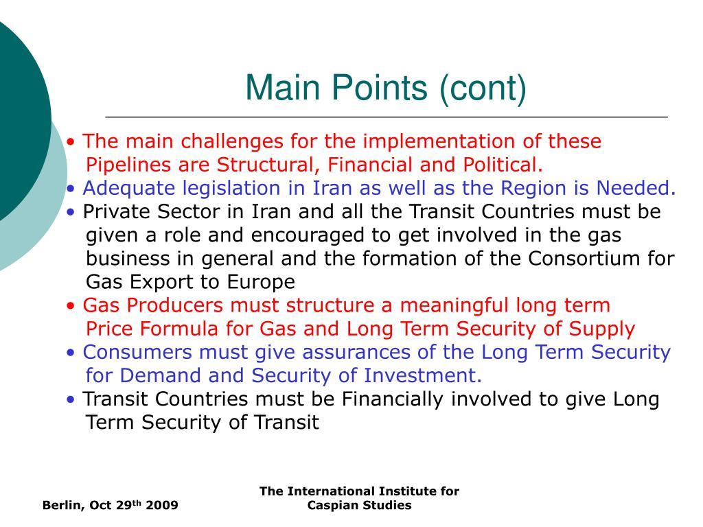 Main Points (cont)