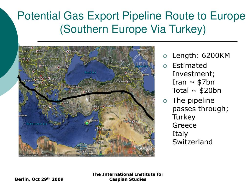 Potential Gas Export Pipeline Route to Europe