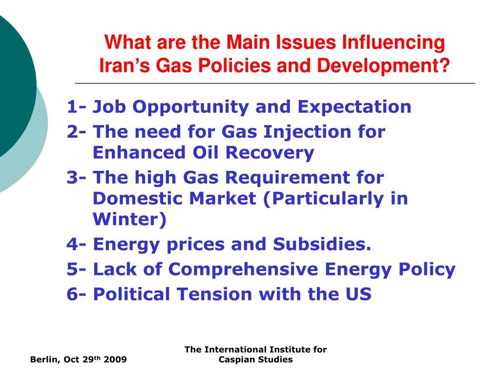 What are the Main Issues Influencing Iran's Gas Policies and Development?
