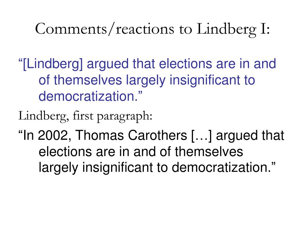 Comments/reactions to Lindberg I: