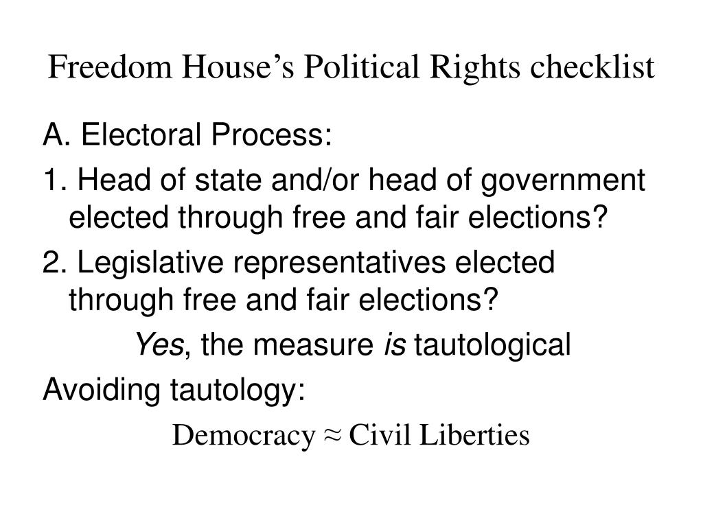 Freedom House's Political Rights checklist