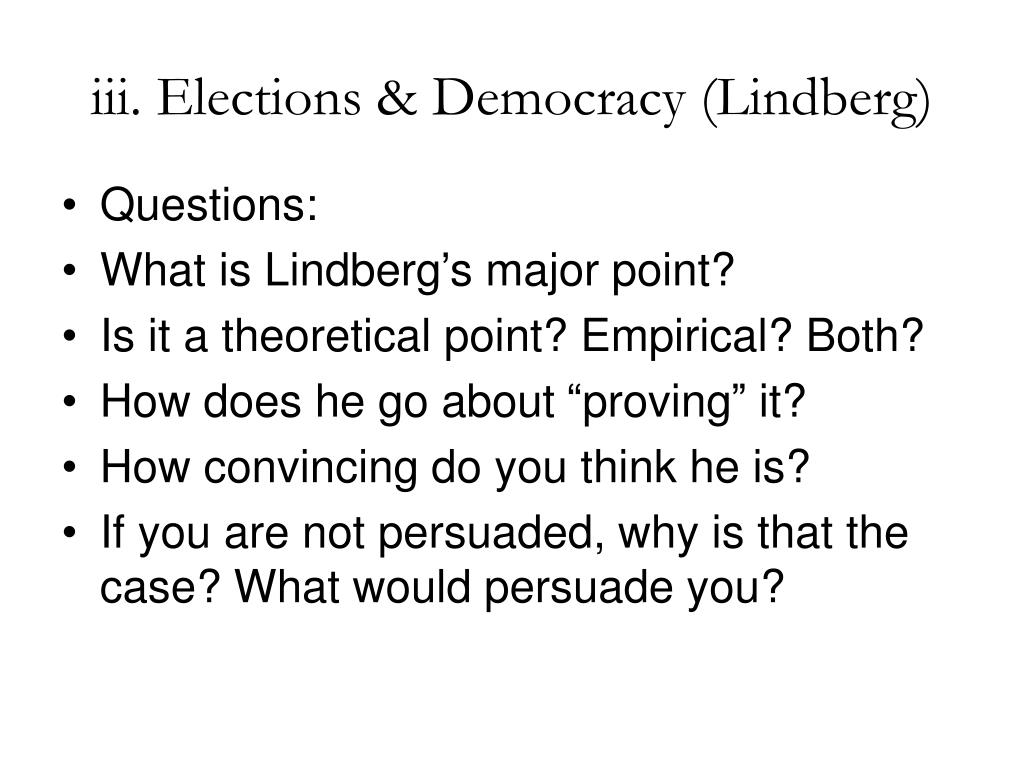 iii. Elections & Democracy (Lindberg)