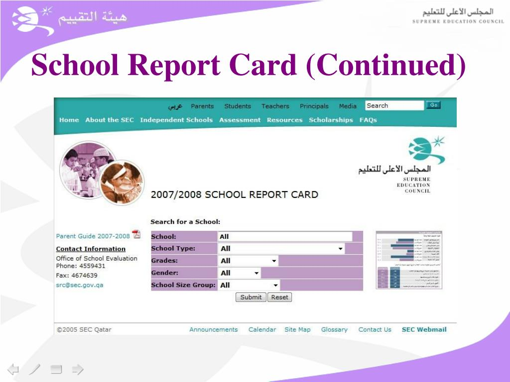 School Report Card (Continued)