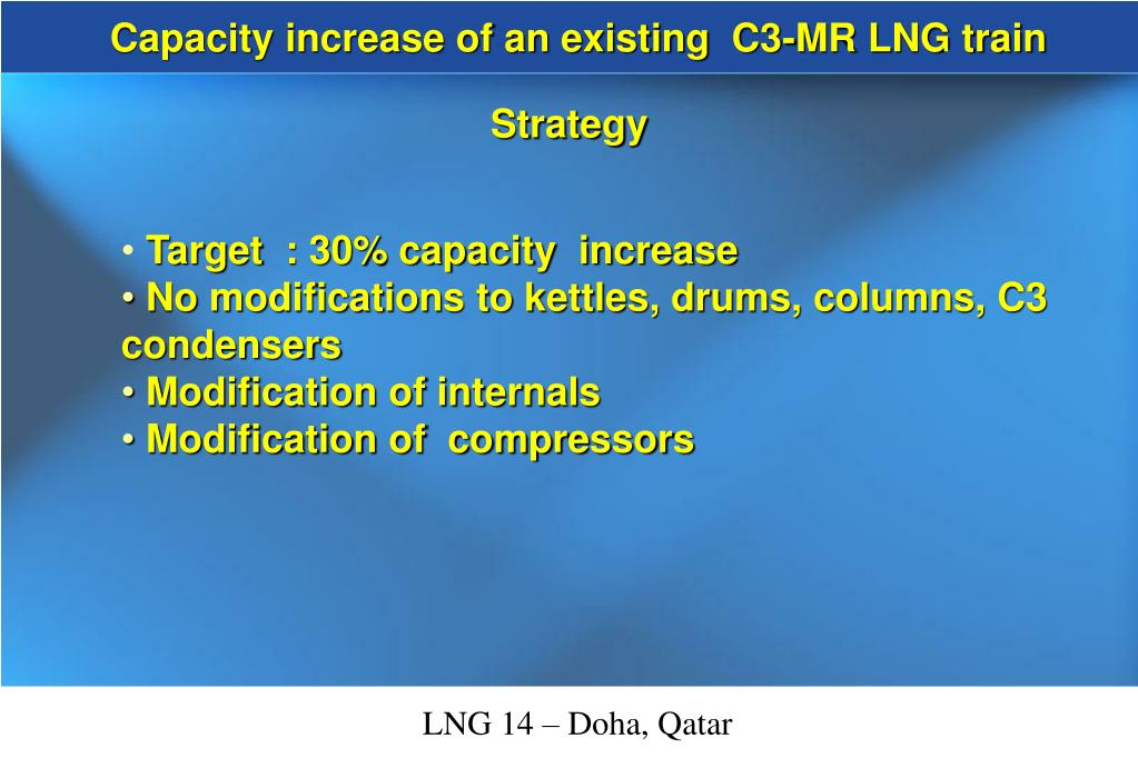 Capacity increase of an existing  C3-MR LNG train