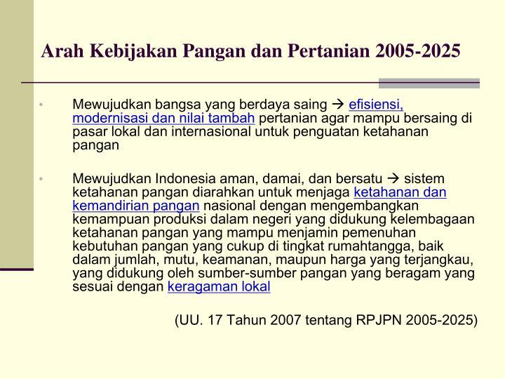Arah Kebijakan Pangan dan Pertanian 2005-2025