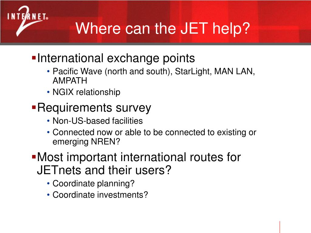 Where can the JET help?