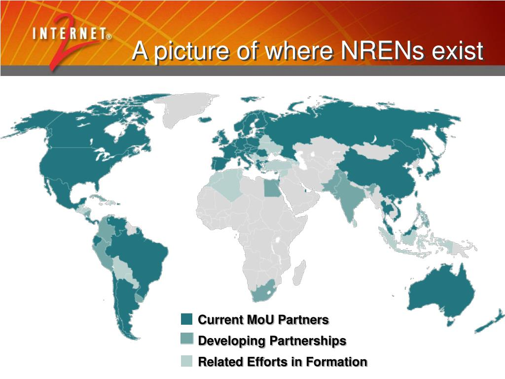 A picture of where NRENs exist