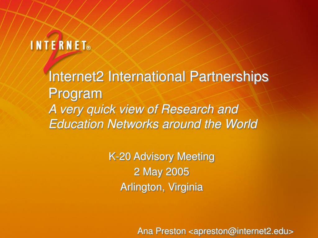 Internet2 International Partnerships Program