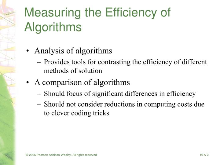Measuring the efficiency of algorithms