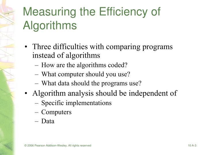 Measuring the efficiency of algorithms1