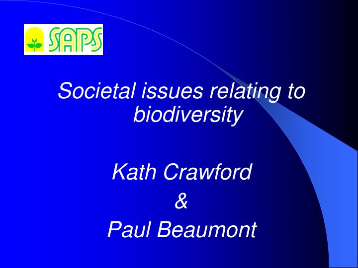 Societal issues relating to biodiversity