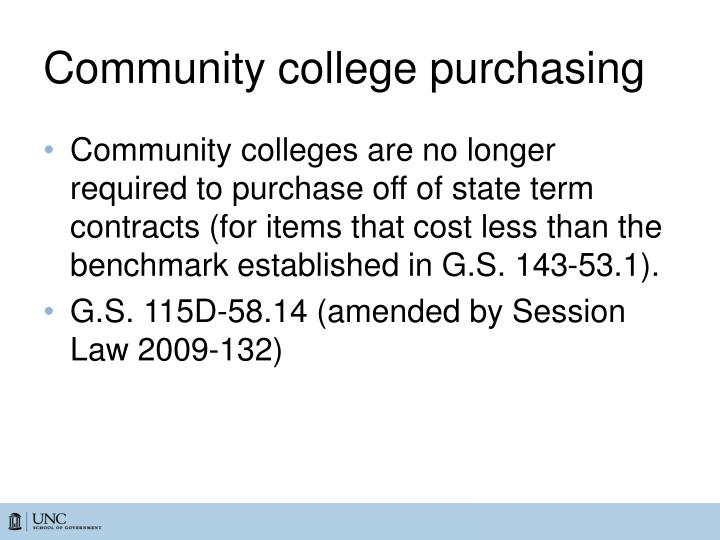 Community college purchasing