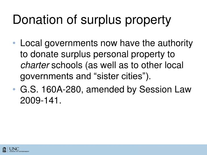 Donation of surplus property