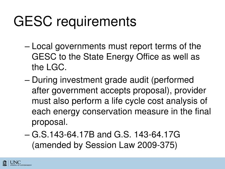 GESC requirements