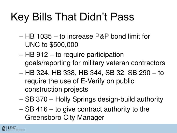 Key Bills That Didn't Pass
