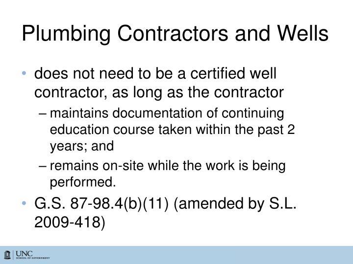Plumbing Contractors and Wells