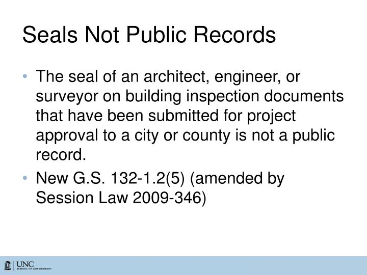 Seals Not Public Records