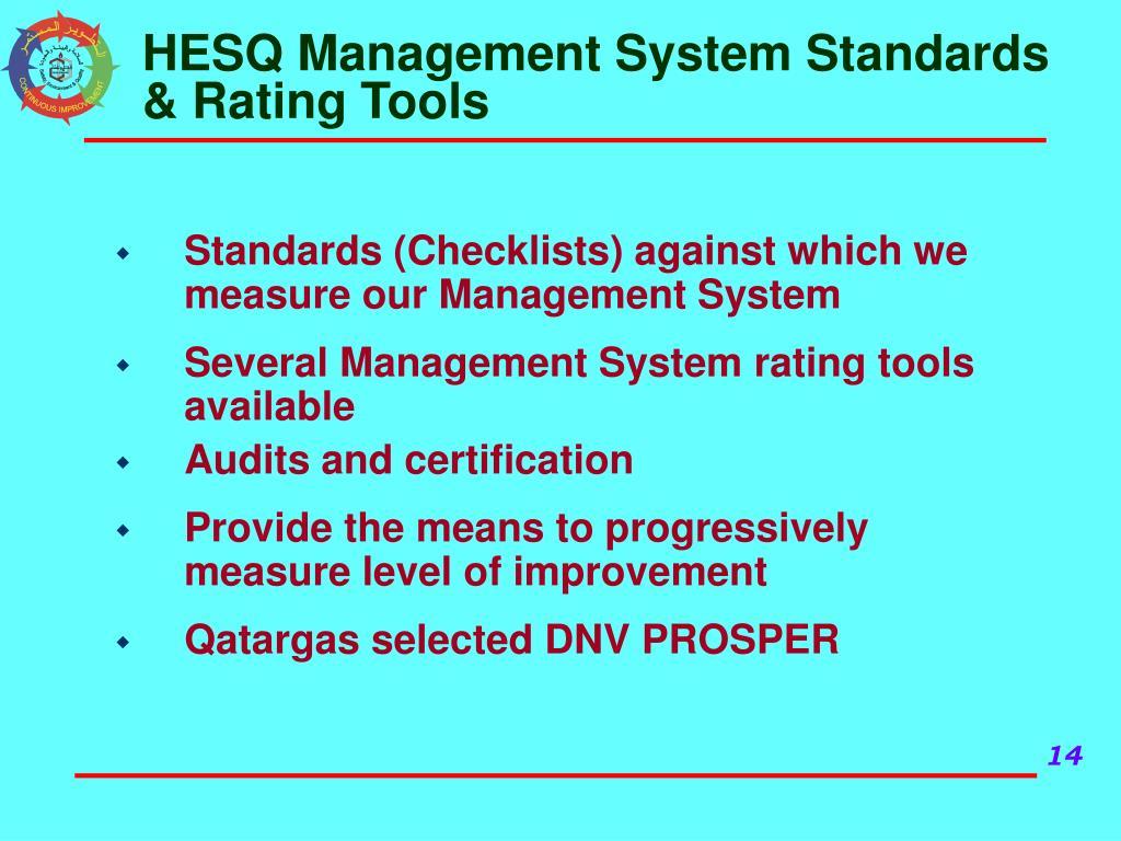 HESQ Management System Standards & Rating Tools