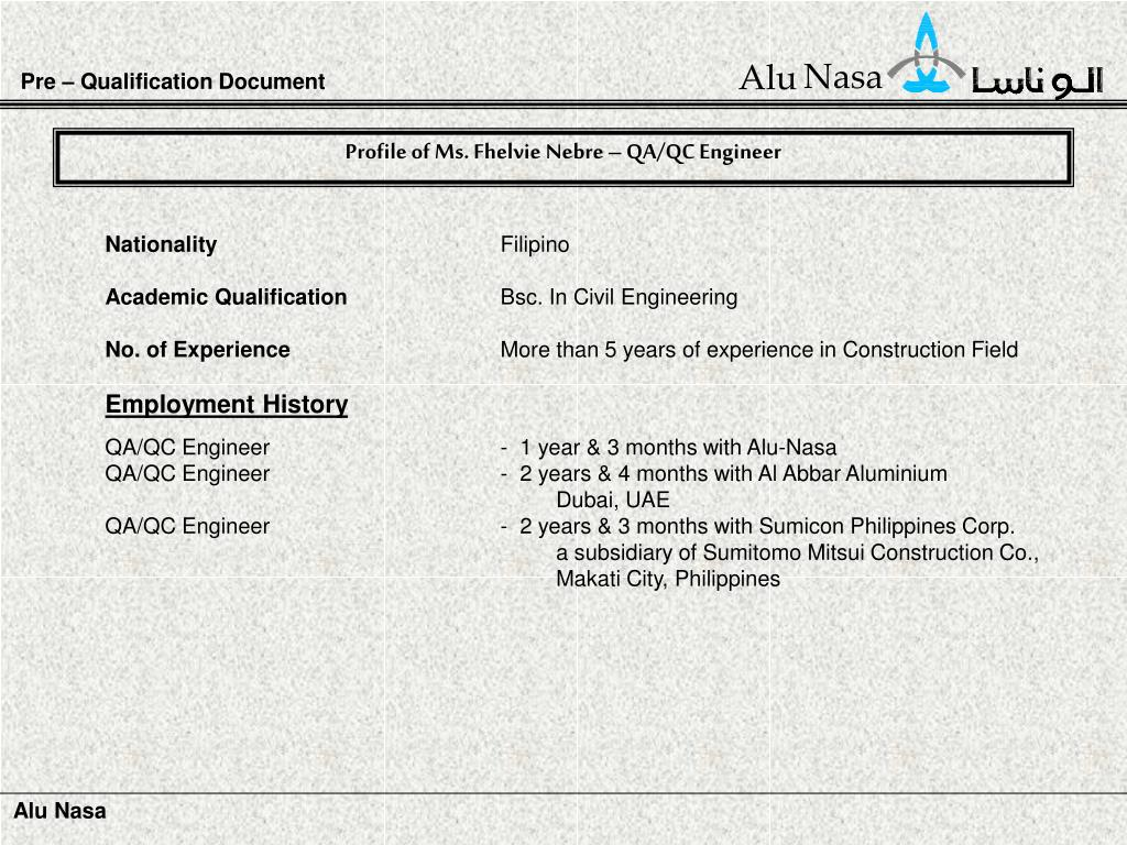 Pre – Qualification Document