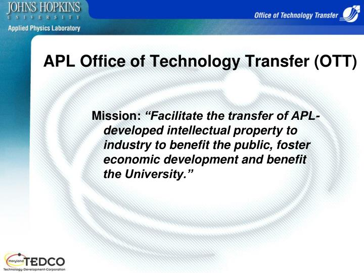Apl office of technology transfer ott