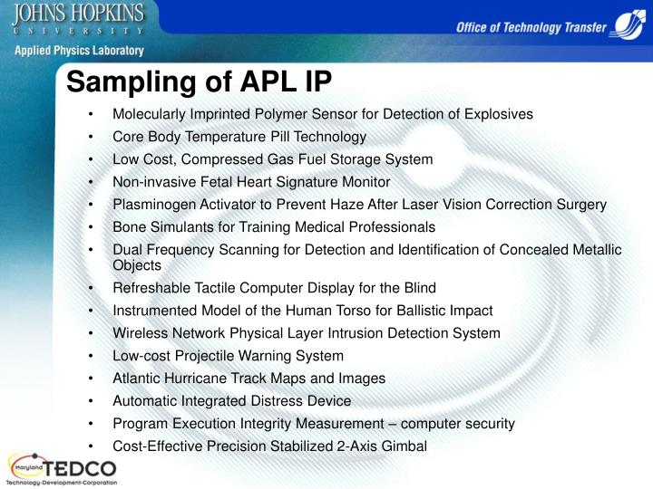 Sampling of APL IP