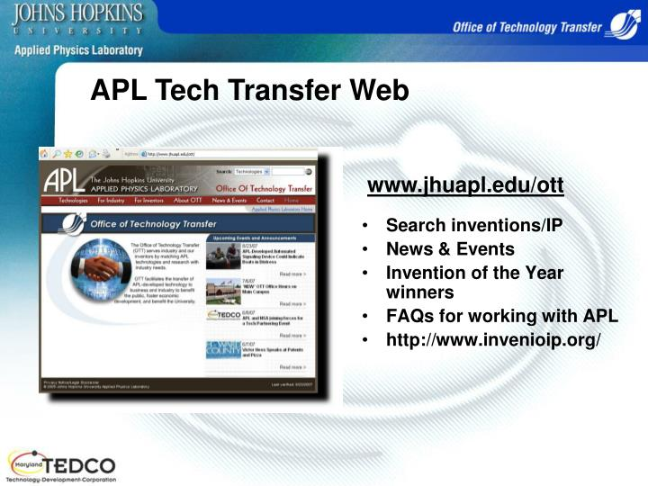 APL Tech Transfer Web