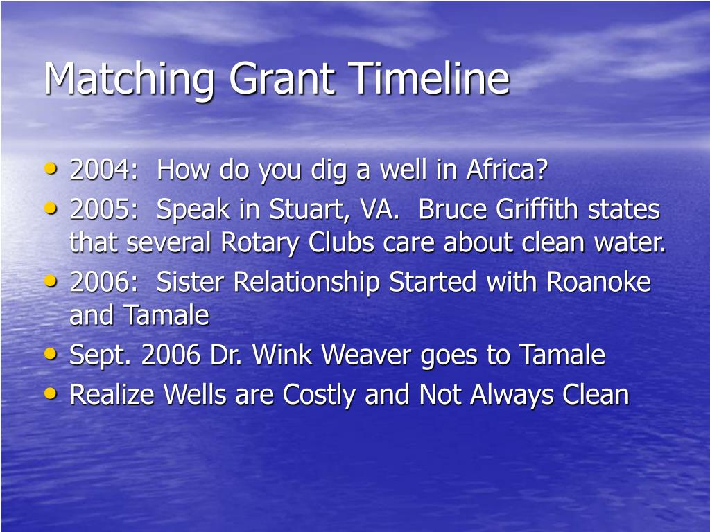 Matching Grant Timeline