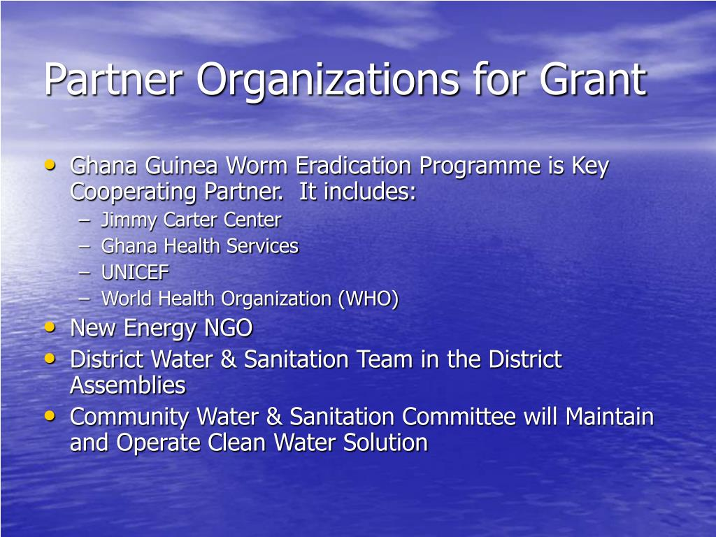 Partner Organizations for Grant