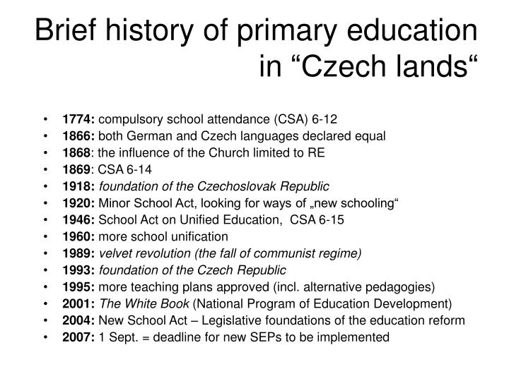 Brief history of primary education