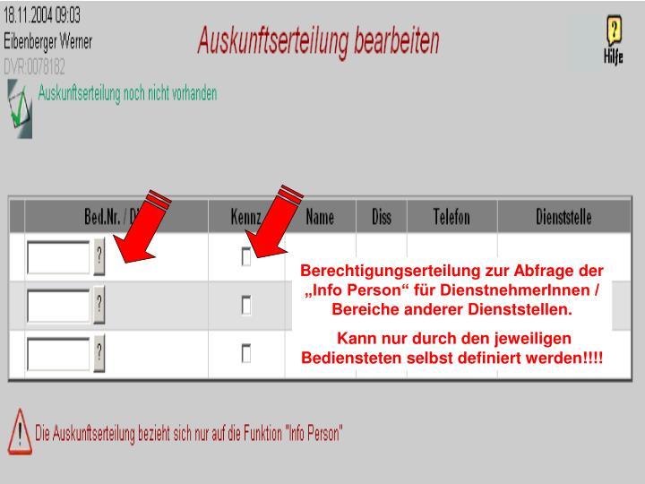 """Berechtigungserteilung zur Abfrage der """"Info Person"""" für DienstnehmerInnen / Bereiche anderer Dienststellen."""
