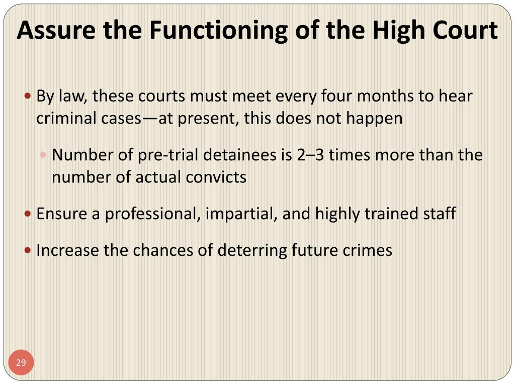 Assure the Functioning of the High Court