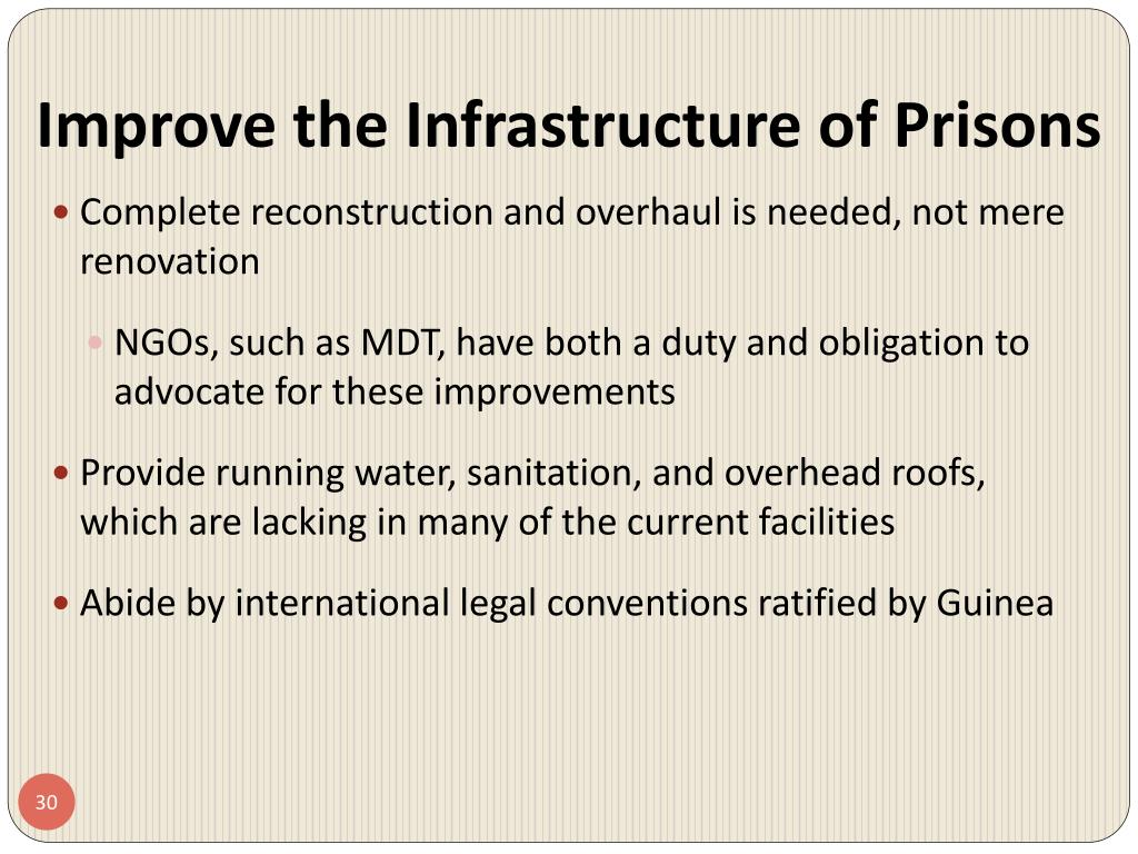 Improve the Infrastructure of Prisons