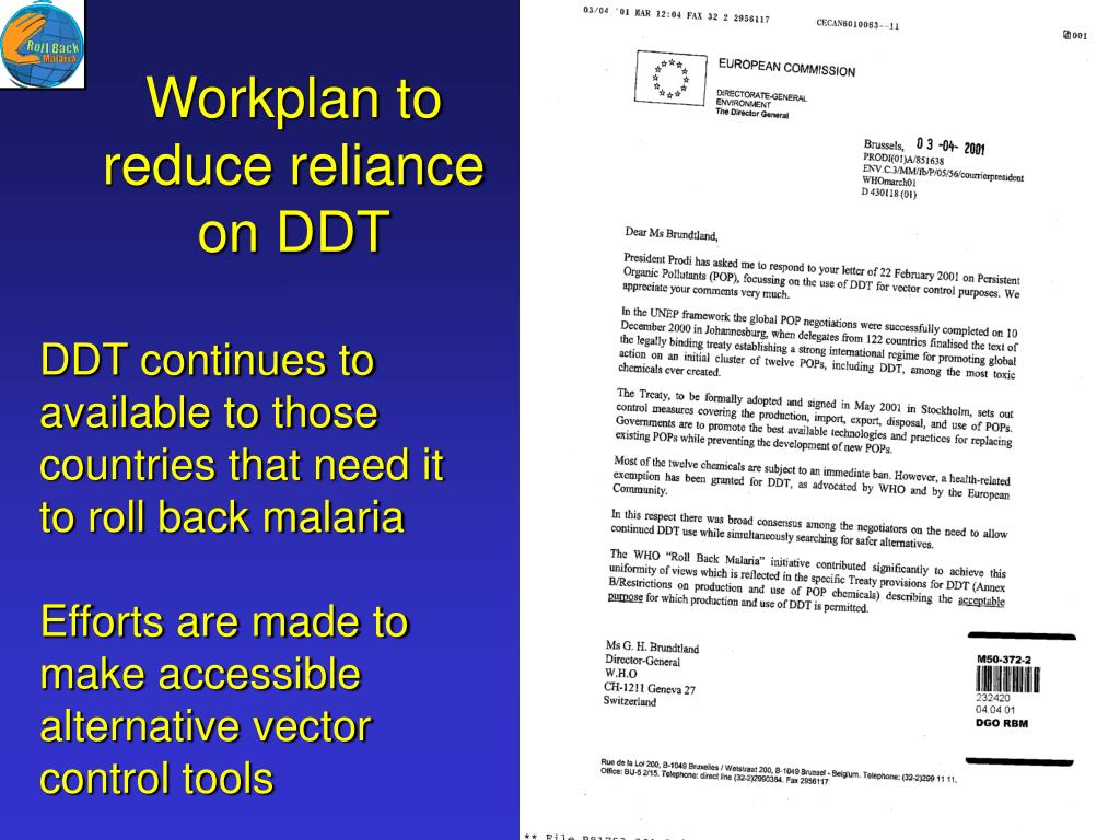 Workplan to reduce reliance on DDT
