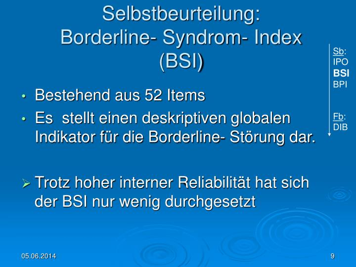 diagnostik und therapie der borderline ppt psychometrische verfahren zur diagnostik und 580 | selbstbeurteilung borderline syndrom index bsi n