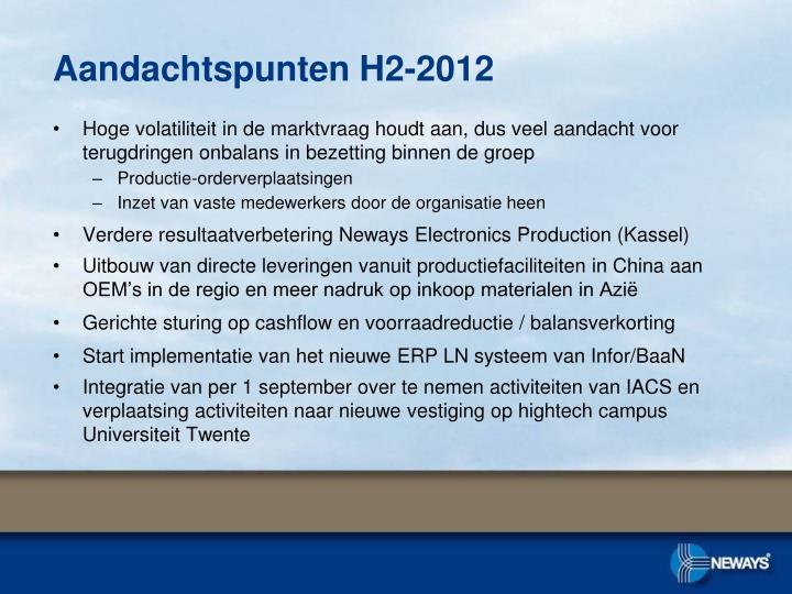 Aandachtspunten H2-2012