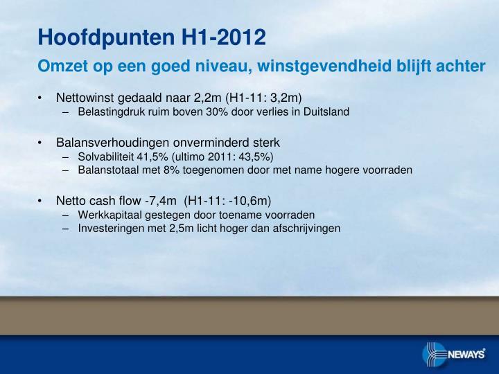 Nettowinst gedaald naar 2,2m (H1-11: 3,2m)