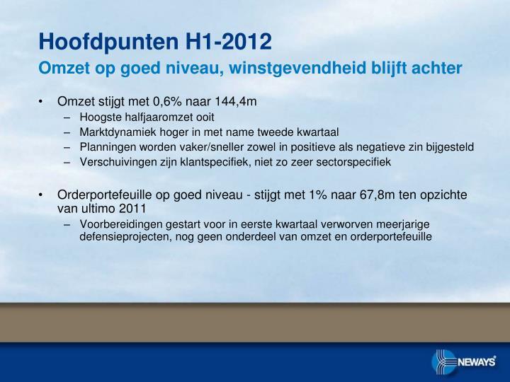 Hoofdpunten H1-2012
