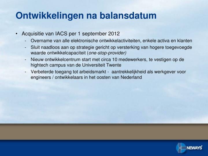 Acquisitie van IACS per 1 september 2012