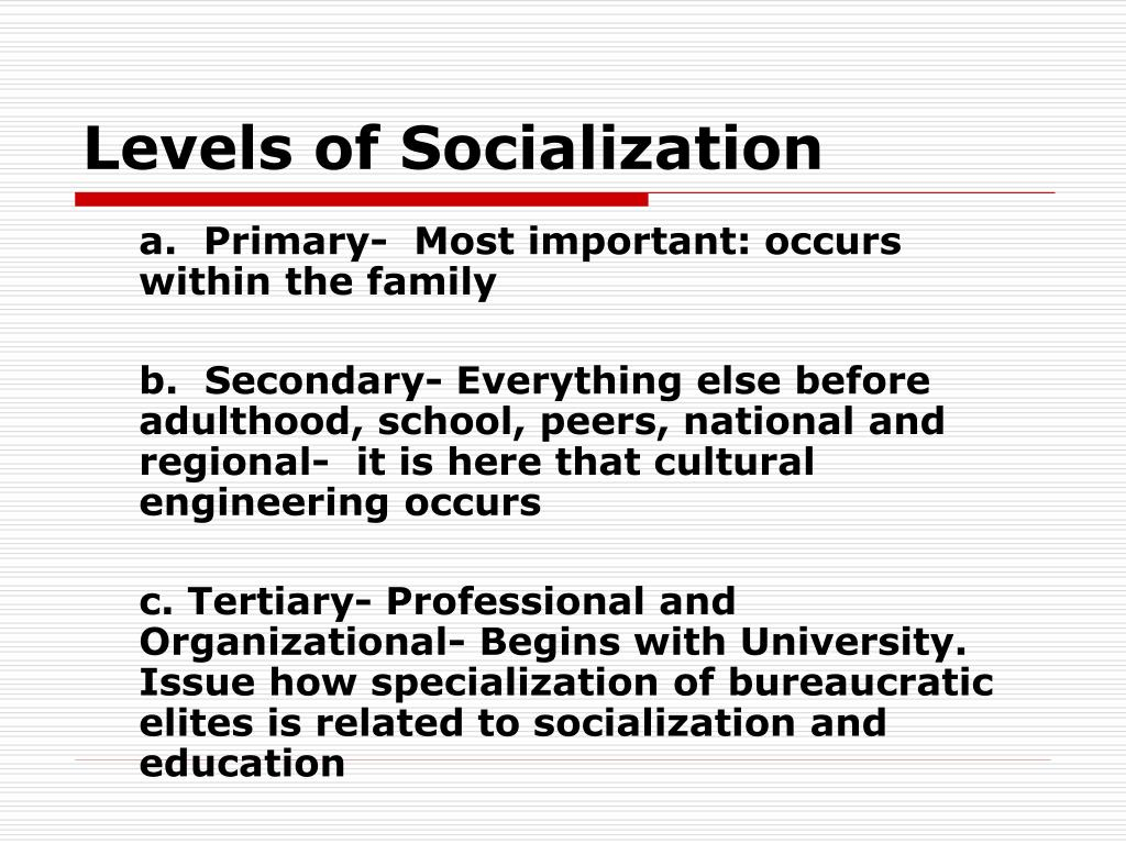 Levels of Socialization