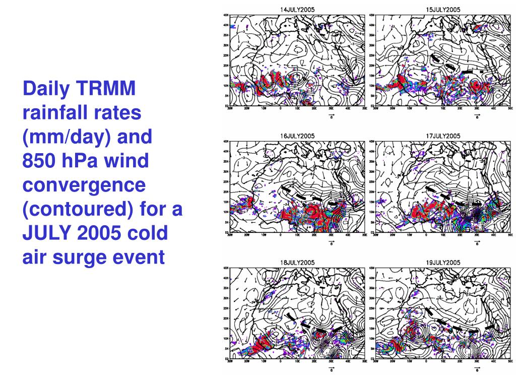 Daily TRMM rainfall rates (mm/day) and 850 hPa wind convergence (contoured) for a JULY 2005 cold air surge event