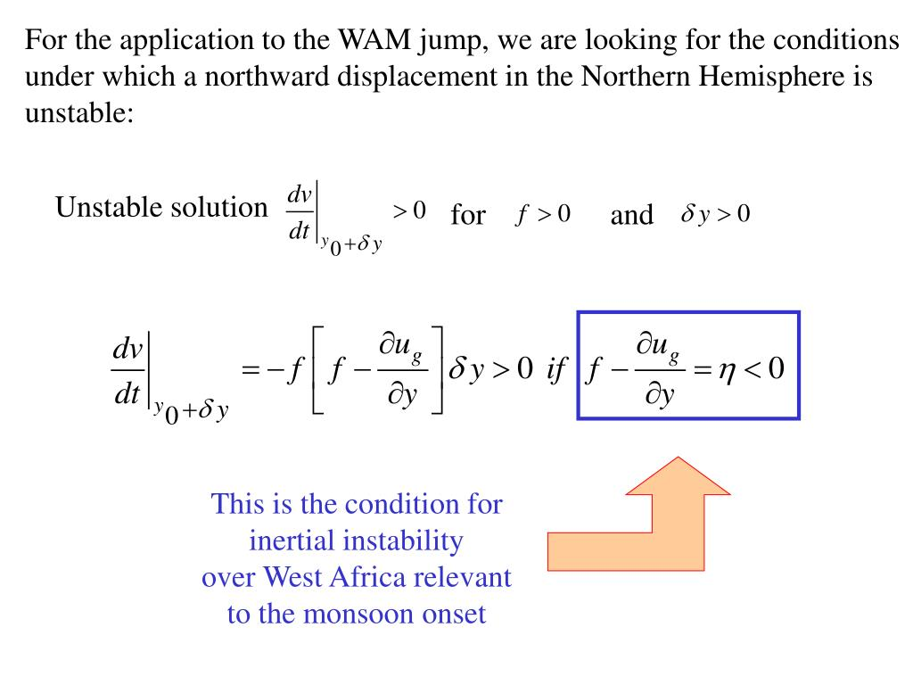 For the application to the WAM jump, we are looking for the conditions