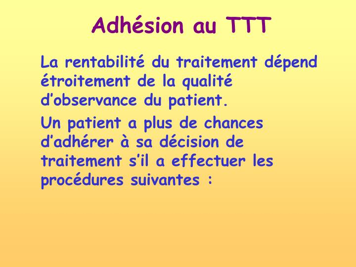 Adhésion au TTT