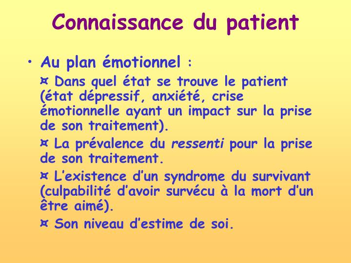 Connaissance du patient