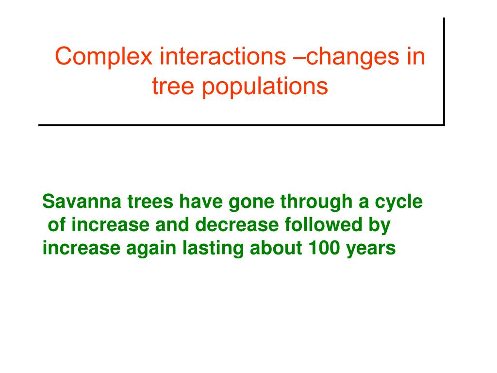 Complex interactions –changes in tree populations