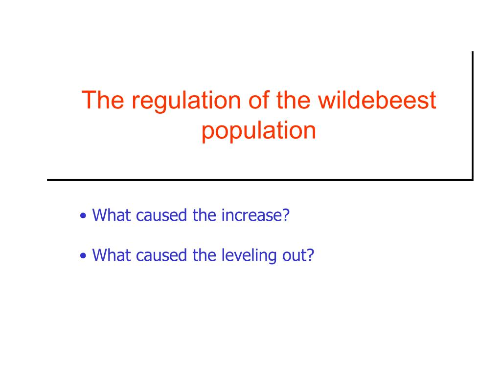 The regulation of the wildebeest population