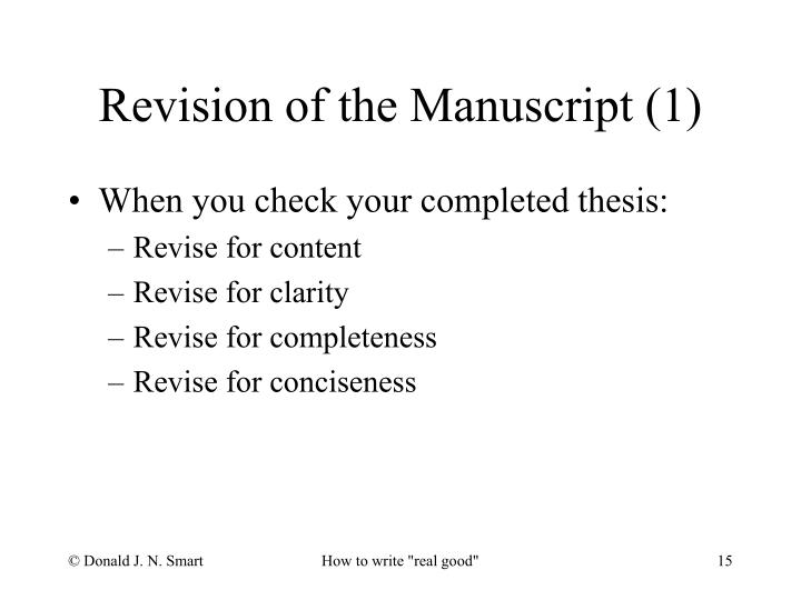 Revision of the Manuscript (1)