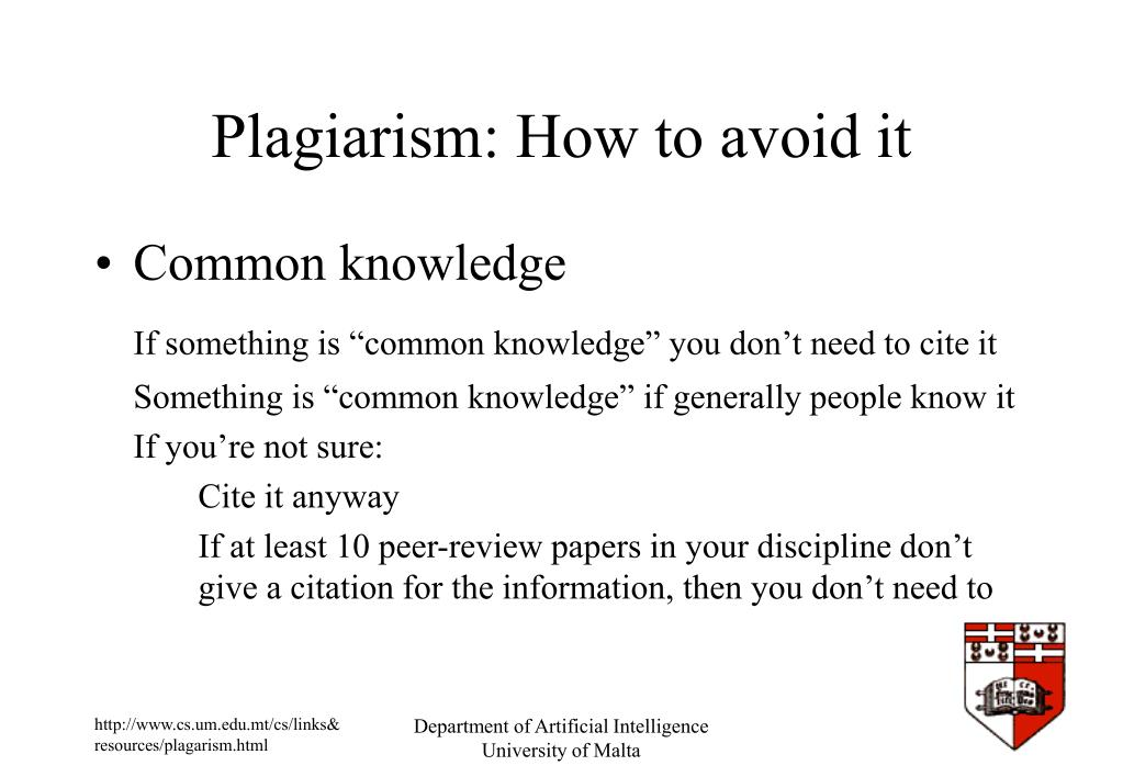 Plagiarism: How to avoid it