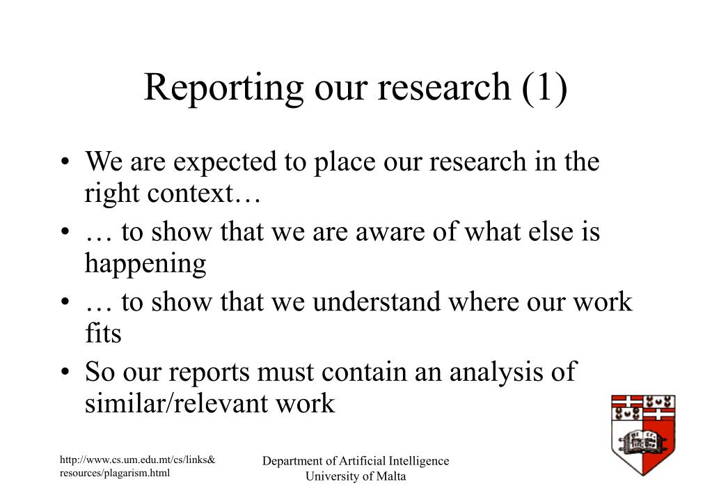 Reporting our research (1)