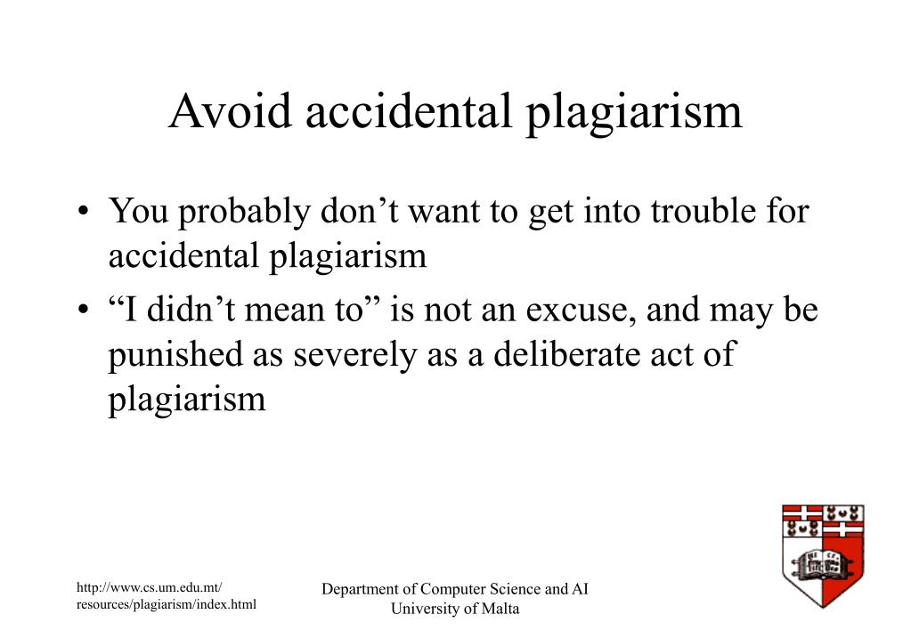 Avoid accidental plagiarism
